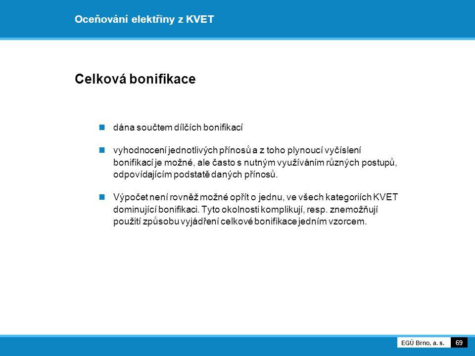 Oceňování elektřiny z KVET Celková bonifikace dána součtem dílčích bonifikací vyhodnocení jednotlivých přínosů a z toho plynoucí vyčíslení bonifikací