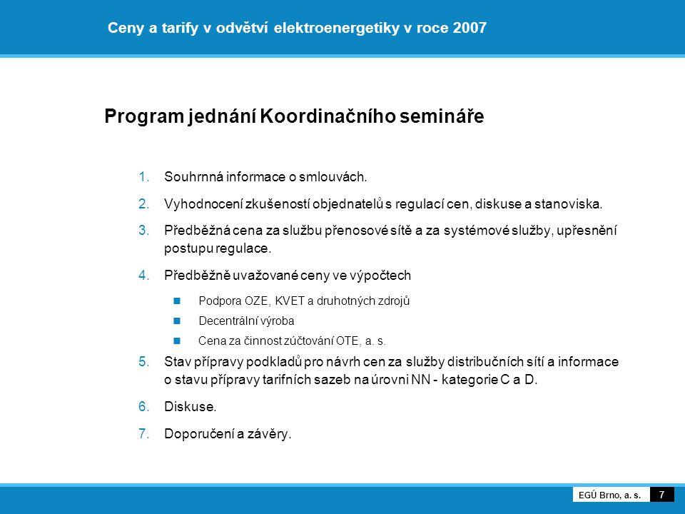 Ceny a tarify v odvětví elektroenergetiky v roce 2007 Program jednání Koordinačního semináře 1.Souhrnná informace o smlouvách. 2.Vyhodnocení zkušenost