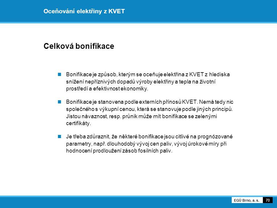 Oceňování elektřiny z KVET Celková bonifikace Bonifikace je způsob, kterým se oceňuje elektřina z KVET z hlediska snížení nepříznivých dopadů výroby e
