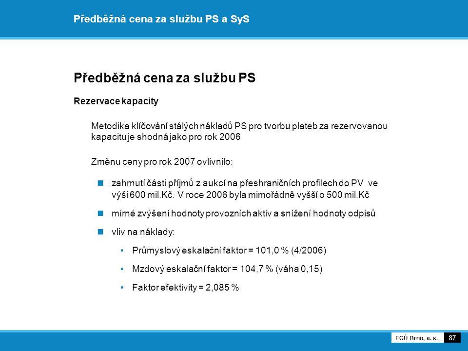 Předběžná cena za službu PS a SyS Předběžná cena za službu PS Rezervace kapacity Metodika klíčování stálých nákladů PS pro tvorbu plateb za rezervovan