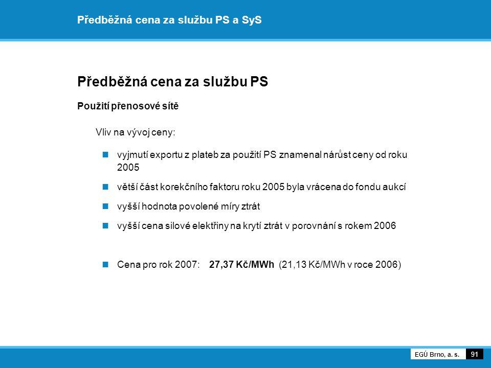Předběžná cena za službu PS a SyS Předběžná cena za službu PS Použití přenosové sítě Vliv na vývoj ceny: vyjmutí exportu z plateb za použití PS znamen