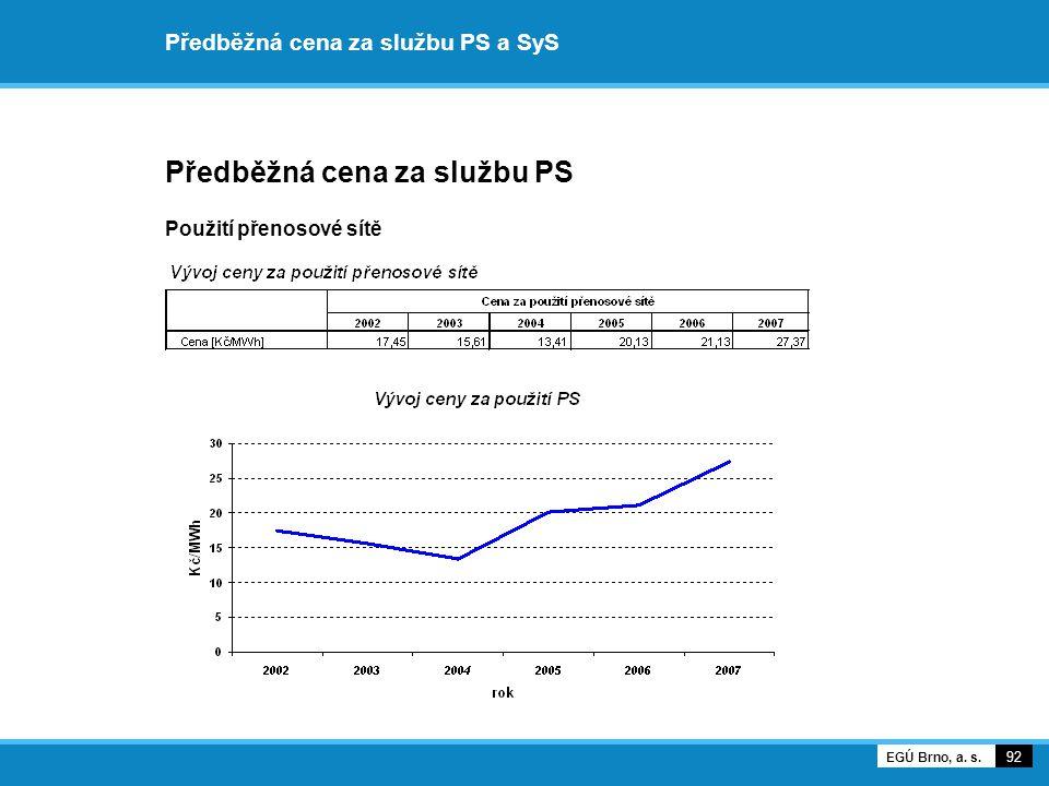 Předběžná cena za službu PS a SyS Předběžná cena za službu PS Použití přenosové sítě 92 EGÚ Brno, a. s.