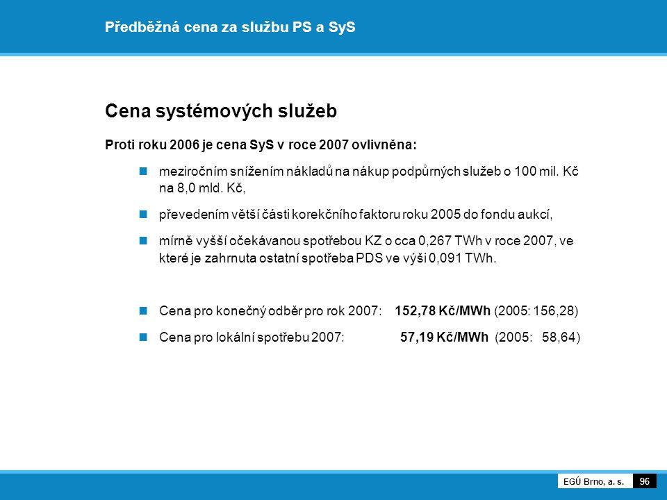 Předběžná cena za službu PS a SyS Cena systémových služeb Proti roku 2006 je cena SyS v roce 2007 ovlivněna: meziročním snížením nákladů na nákup podp