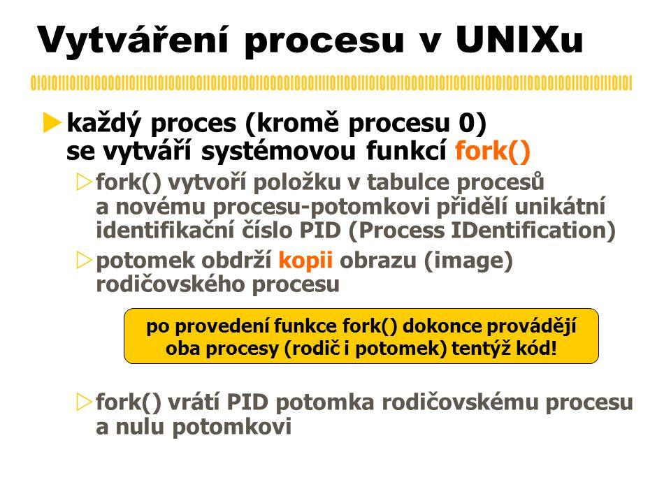 Vytváření procesu v UNIXu  každý proces (kromě procesu 0) se vytváří systémovou funkcí fork()  fork() vytvoří položku v tabulce procesů a novému pro