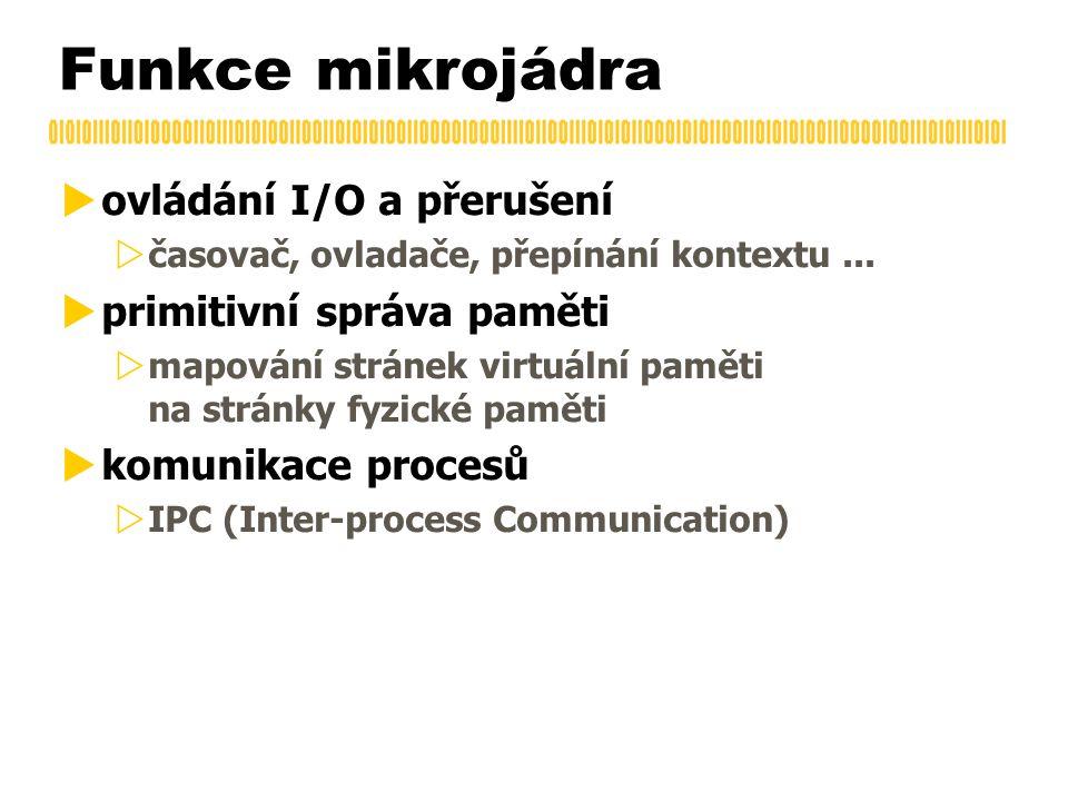 Funkce mikrojádra  ovládání I/O a přerušení  časovač, ovladače, přepínání kontextu...  primitivní správa paměti  mapování stránek virtuální paměti