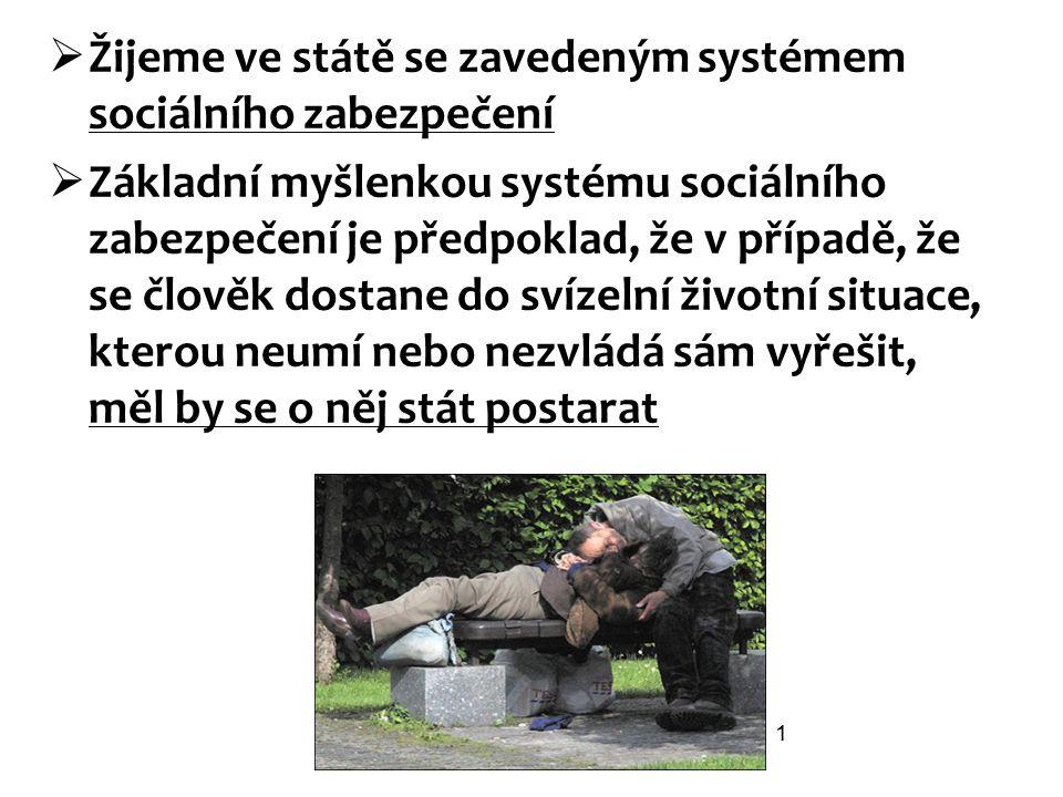  Žijeme ve státě se zavedeným systémem sociálního zabezpečení  Základní myšlenkou systému sociálního zabezpečení je předpoklad, že v případě, že se