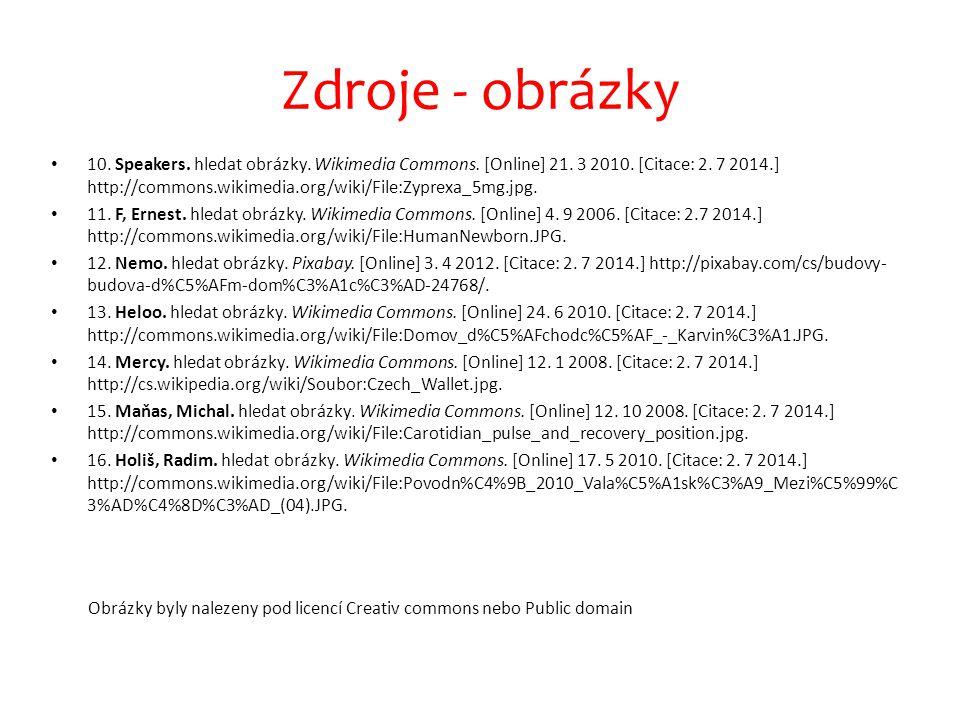 Zdroje - obrázky 10. Speakers. hledat obrázky. Wikimedia Commons. [Online] 21. 3 2010. [Citace: 2. 7 2014.] http://commons.wikimedia.org/wiki/File:Zyp