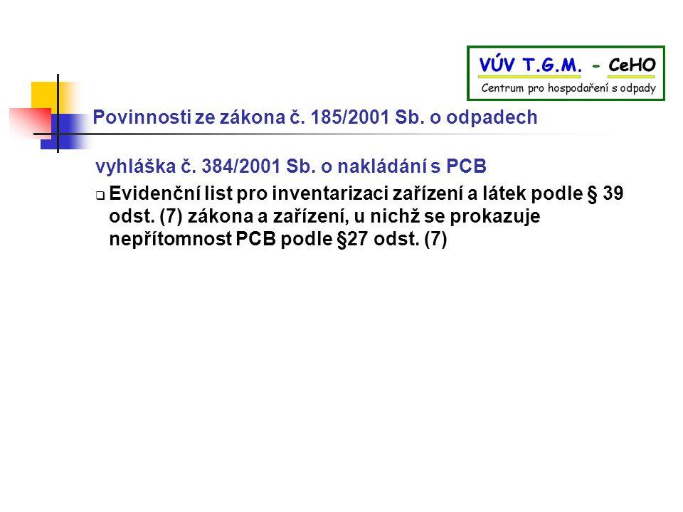 Povinnosti ze zákona č. 185/2001 Sb. o odpadech vyhláška č. 384/2001 Sb. o nakládání s PCB  Evidenční list pro inventarizaci zařízení a látek podle §
