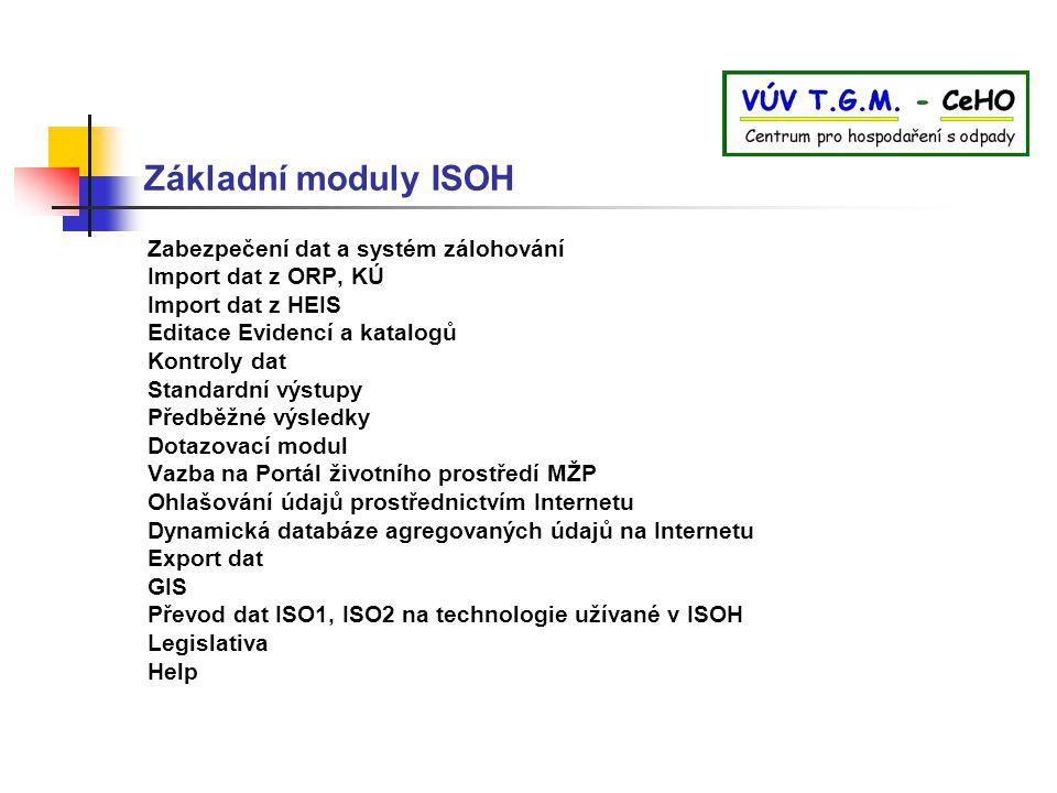 Základní moduly ISOH Zabezpečení dat a systém zálohování Import dat z ORP, KÚ Import dat z HEIS Editace Evidencí a katalogů Kontroly dat Standardní vý