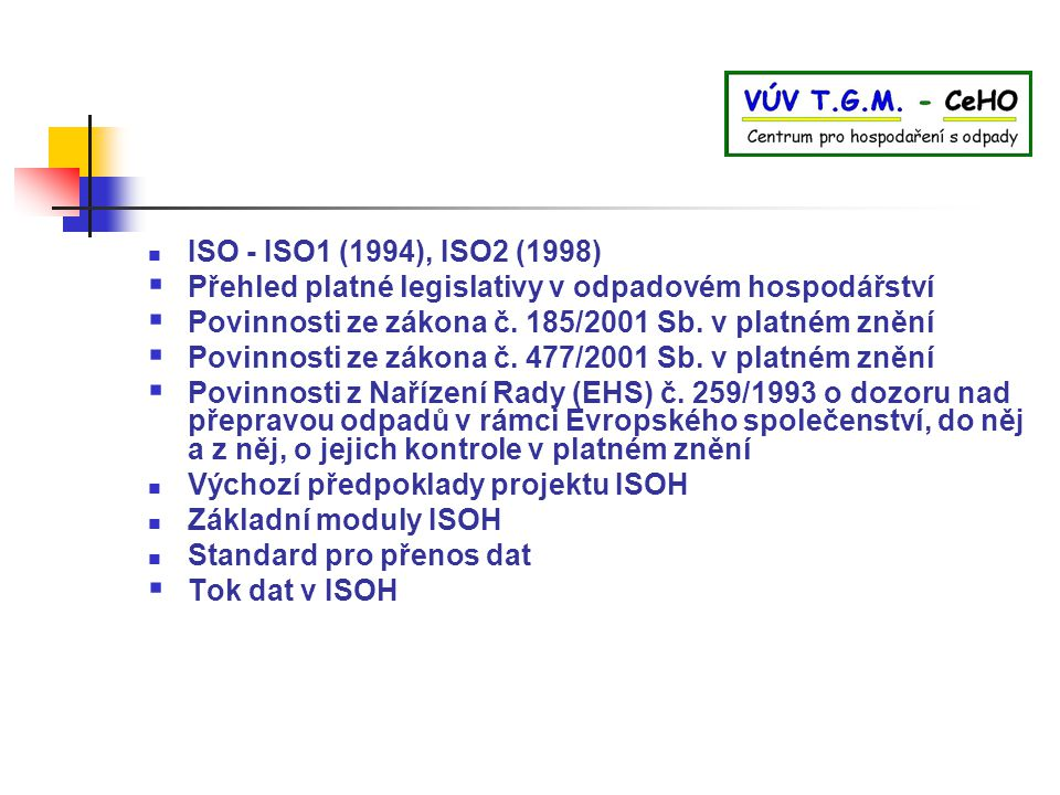 ISO - ISO1 (1994), ISO2 (1998)  Přehled platné legislativy v odpadovém hospodářství  Povinnosti ze zákona č. 185/2001 Sb. v platném znění  Povinnos