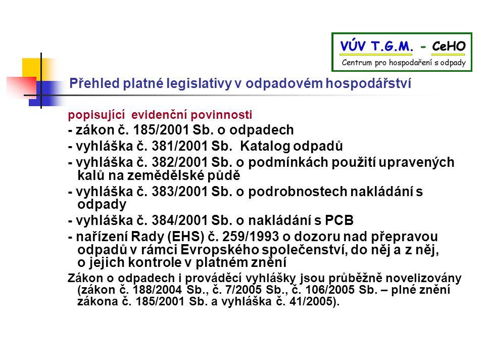 Přehled platné legislativy v odpadovém hospodářství popisující evidenční povinnosti - zákon č. 185/2001 Sb. o odpadech - vyhláška č. 381/2001 Sb. Kata