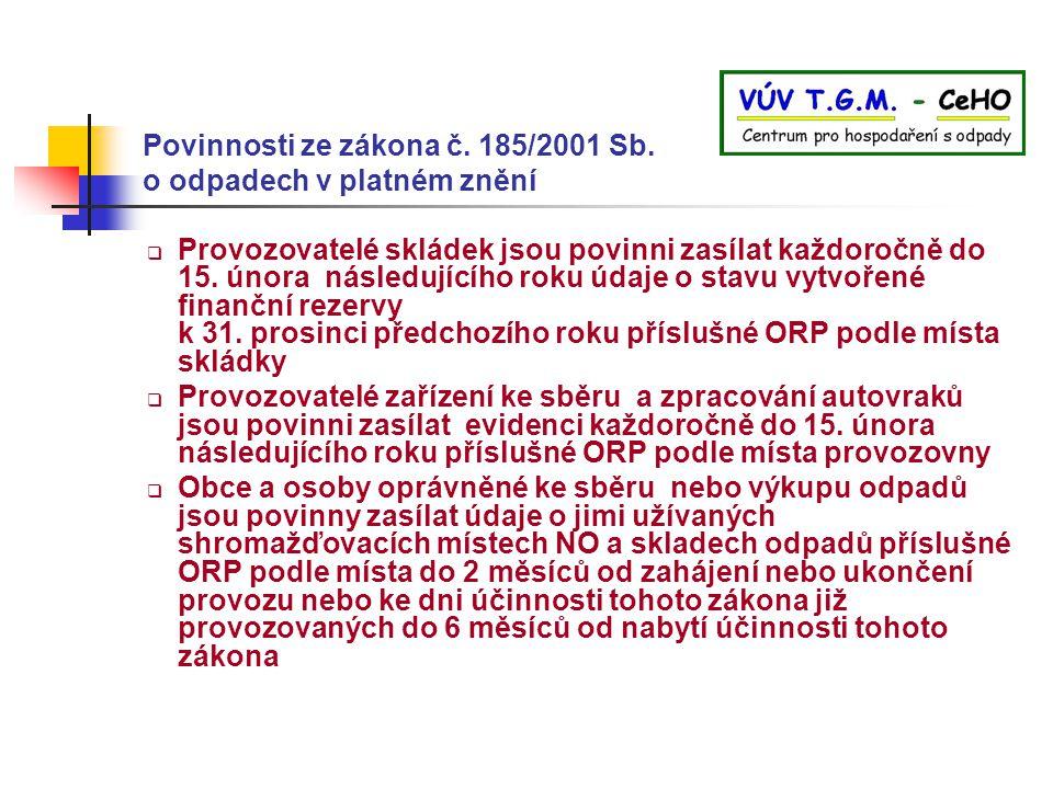 Povinnosti ze zákona č. 185/2001 Sb. o odpadech v platném znění  Provozovatelé skládek jsou povinni zasílat každoročně do 15. února následujícího rok