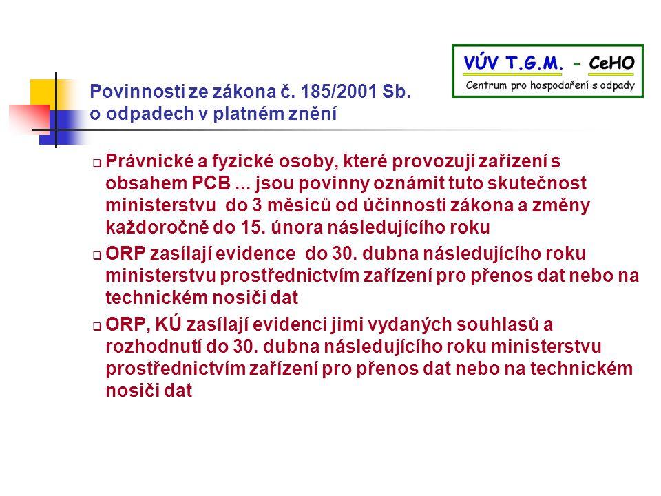 Povinnosti ze zákona č. 185/2001 Sb. o odpadech v platném znění  Právnické a fyzické osoby, které provozují zařízení s obsahem PCB... jsou povinny oz
