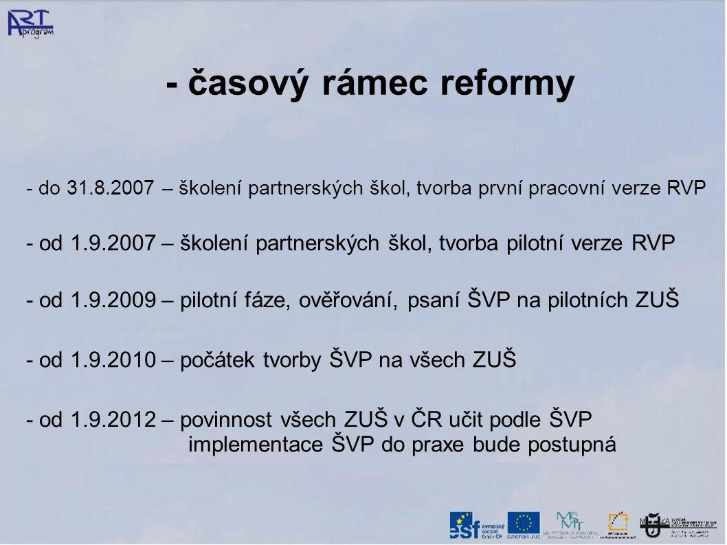 - časový rámec reformy - do 31.8.2007 – školení partnerských škol, tvorba první pracovní verze RVP - od 1.9.2009 – pilotní fáze, ověřování, psaní ŠVP