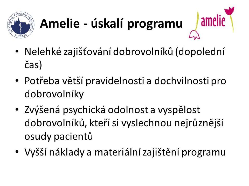 Amelie - úskalí programu Nelehké zajišťování dobrovolníků (dopolední čas) Potřeba větší pravidelnosti a dochvilnosti pro dobrovolníky Zvýšená psychická odolnost a vyspělost dobrovolníků, kteří si vyslechnou nejrůznější osudy pacientů Vyšší náklady a materiální zajištění programu