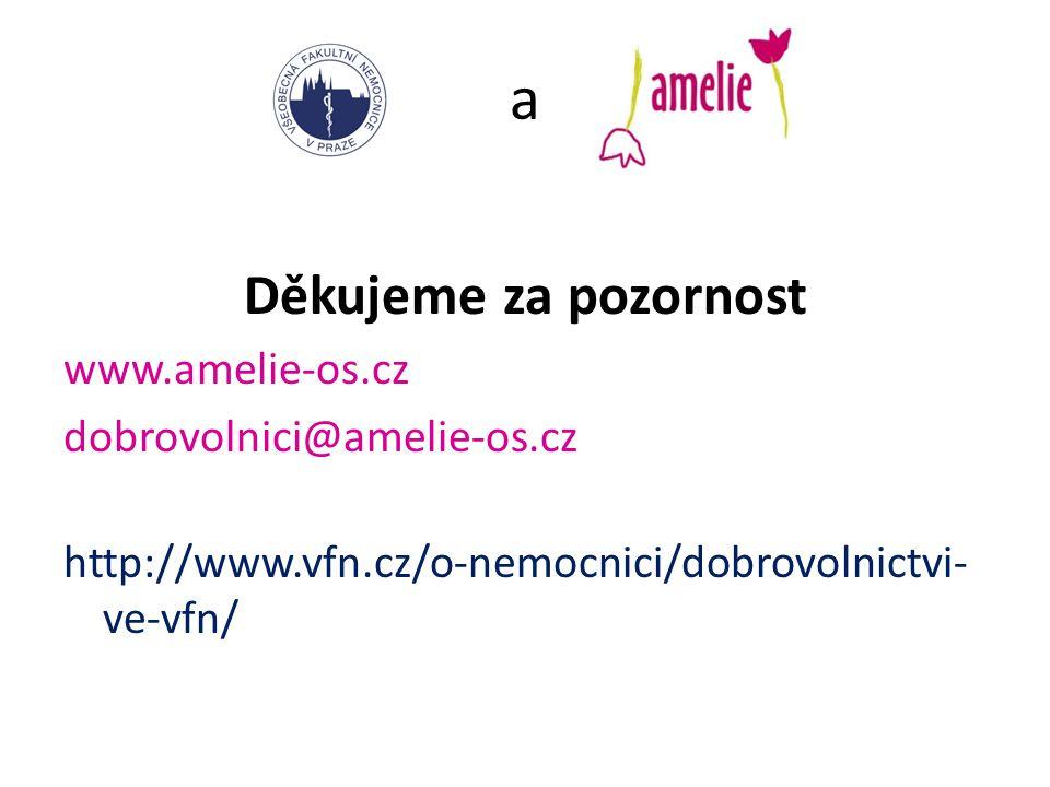 a Děkujeme za pozornost www.amelie-os.cz dobrovolnici@amelie-os.cz http://www.vfn.cz/o-nemocnici/dobrovolnictvi- ve-vfn/