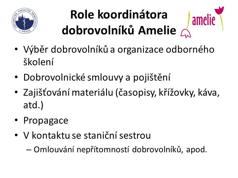 Role koordinátora dobrovolníků Amelie Výběr dobrovolníků a organizace odborného školení Dobrovolnické smlouvy a pojištění Zajišťování materiálu (časop