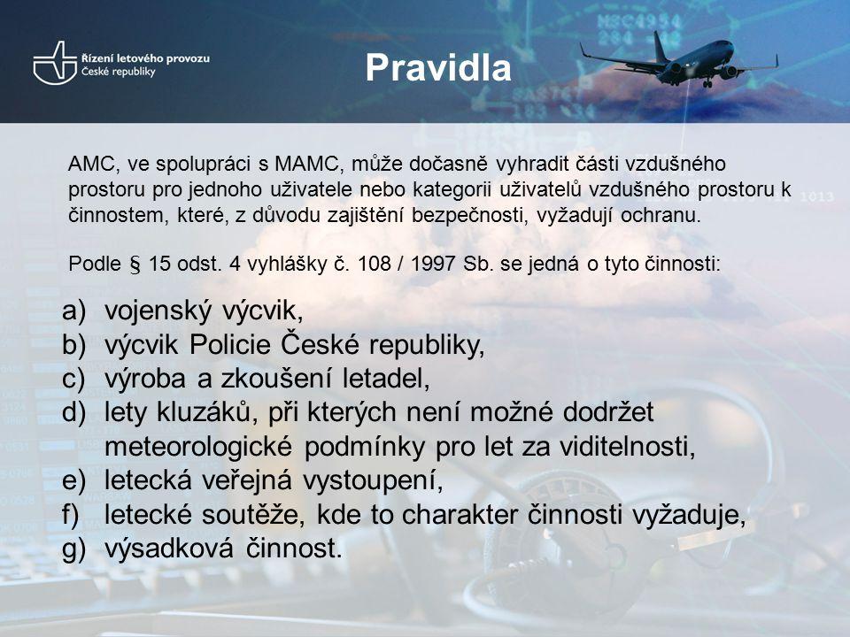 Pravidla a)vojenský výcvik, b)výcvik Policie České republiky, c)výroba a zkoušení letadel, d)lety kluzáků, při kterých není možné dodržet meteorologic