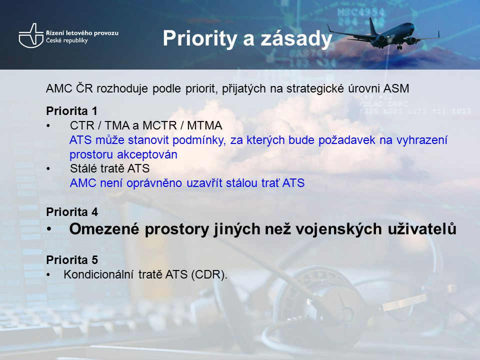 Priority a zásady AMC ČR rozhoduje podle priorit, přijatých na strategické úrovni ASM Priorita 1 CTR / TMA a MCTR / MTMA ATS může stanovit podmínky, z