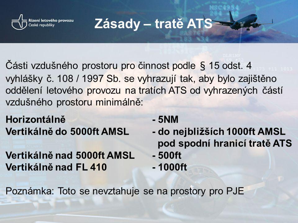 Zásady – tratě ATS Části vzdušného prostoru pro činnost podle § 15 odst. 4 vyhlášky č. 108 / 1997 Sb. se vyhrazují tak, aby bylo zajištěno oddělení le