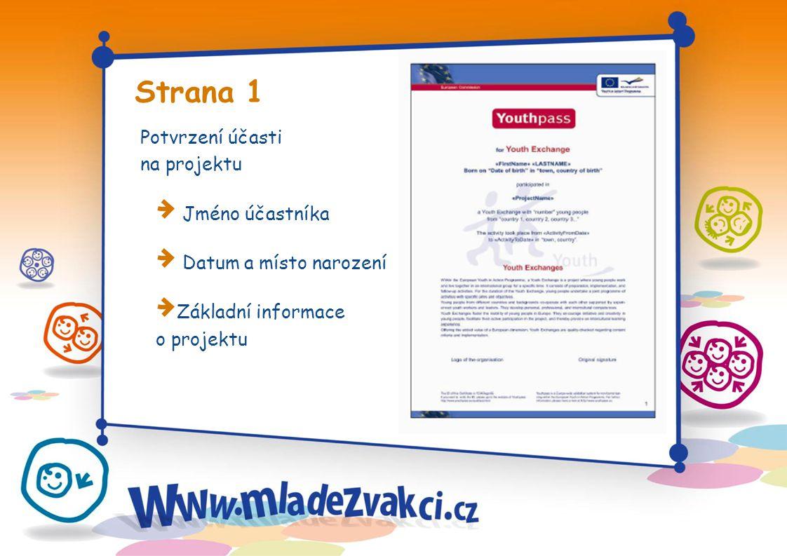 Strana 1 Potvrzení účasti na projektu Jméno účastníka Datum a místo narození Základní informace o projektu