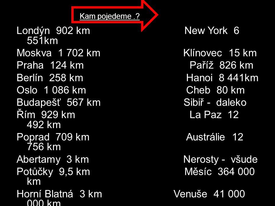 Londýn 902 km New York 6 551km Moskva 1 702 km Klínovec 15 km Praha 124 km Paříž 826 km Berlín 258 km Hanoi 8 441km Oslo 1 086 km Cheb 80 km Budapešť 567 km Sibiř - daleko Řím 929 km La Paz 12 492 km Poprad 709 km Austrálie 12 756 km Abertamy 3 km Nerosty - všude Potůčky 9,5 km Měsíc 364 000 km Horní Blatná 3 km Venuše 41 000 000 km Karlovy Vary 21 km Mars 57 000 000 km Slunce 147 000 000 km Kam pojedeme.