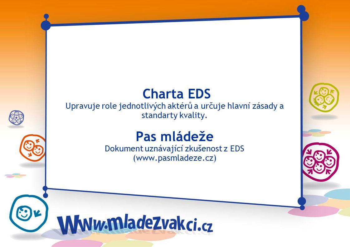Charta EDS Upravuje role jednotlivých aktérů a určuje hlavní zásady a standarty kvality. Pas mládeže Dokument uznávající zkušenost z EDS (www.pasmlade
