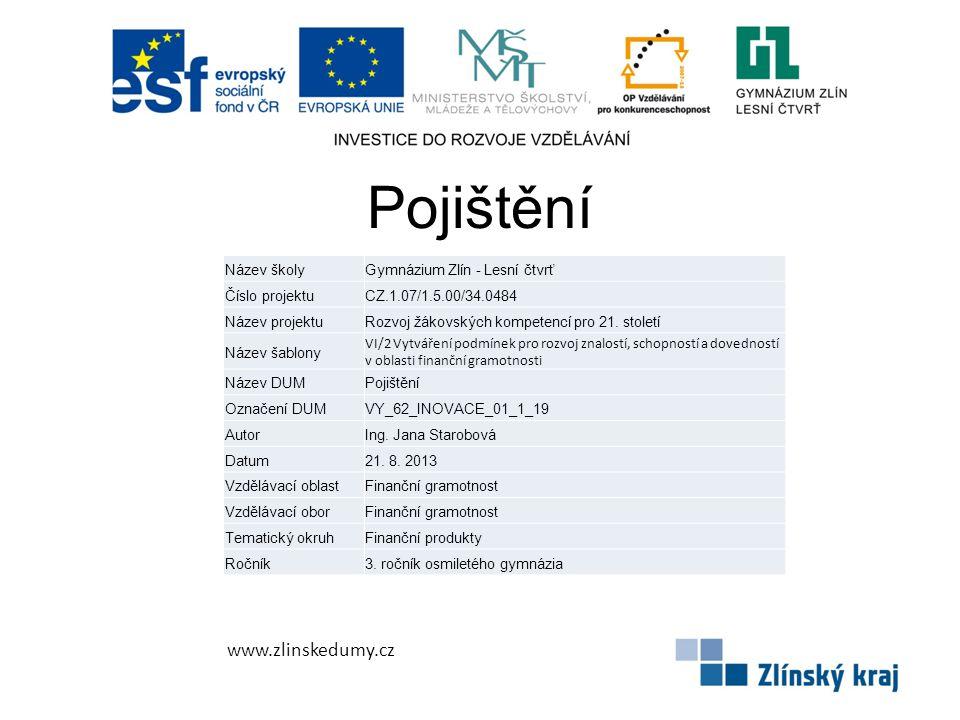 Pojištění www.zlinskedumy.cz Název školyGymnázium Zlín - Lesní čtvrť Číslo projektuCZ.1.07/1.5.00/34.0484 Název projektuRozvoj žákovských kompetencí pro 21.