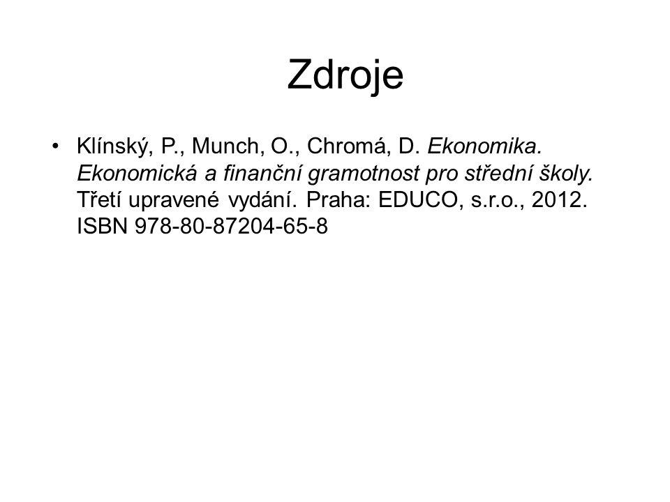Zdroje Klínský, P., Munch, O., Chromá, D. Ekonomika.