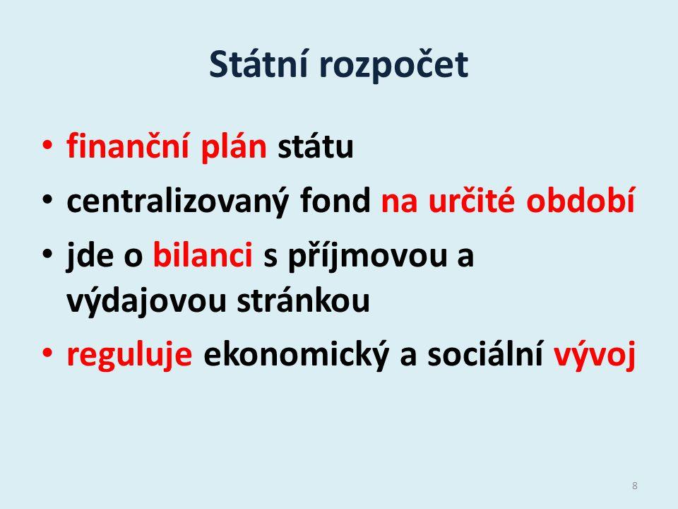 Státní rozpočet finanční plán státu centralizovaný fond na určité období jde o bilanci s příjmovou a výdajovou stránkou reguluje ekonomický a sociální