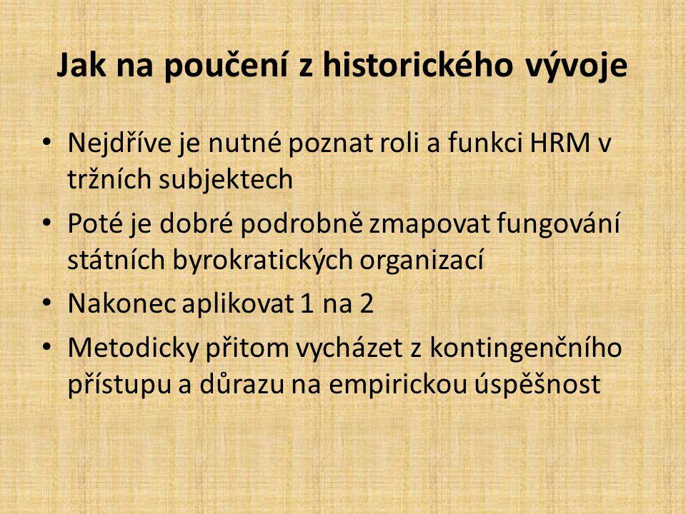Jak na poučení z historického vývoje Nejdříve je nutné poznat roli a funkci HRM v tržních subjektech Poté je dobré podrobně zmapovat fungování státníc