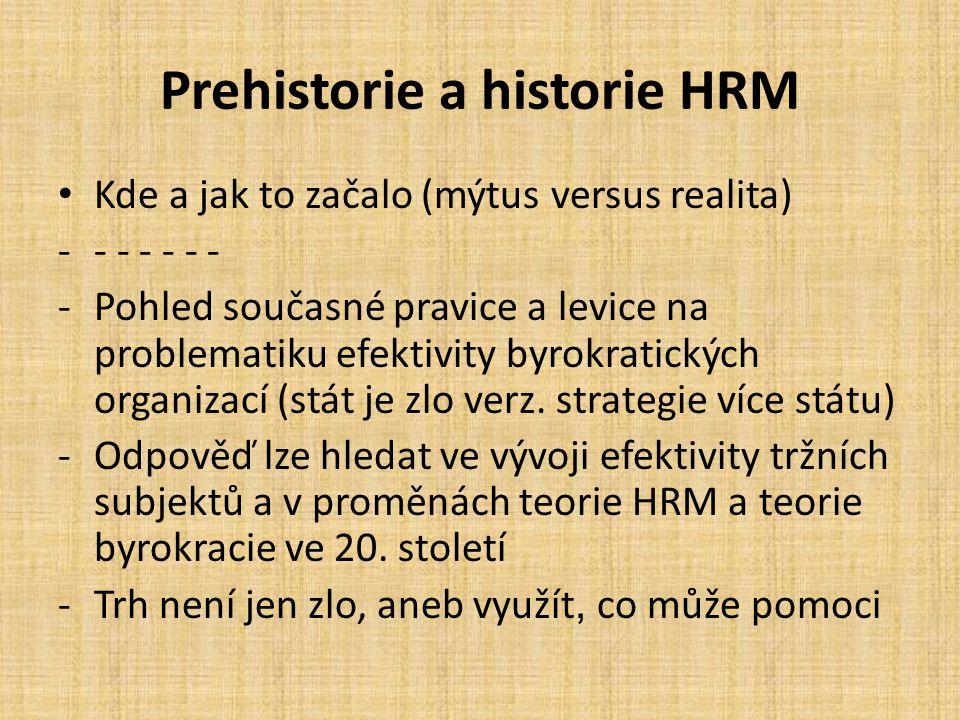 Prehistorie a historie HRM Kde a jak to začalo (mýtus versus realita) -- - - - - - -Pohled současné pravice a levice na problematiku efektivity byrokratických organizací (stát je zlo verz.