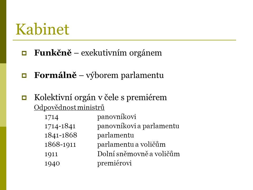 Kabinet  Funkčně – exekutivním orgánem  Formálně – výborem parlamentu  Kolektivní orgán v čele s premiérem Odpovědnost ministrů 1714panovníkovi 171
