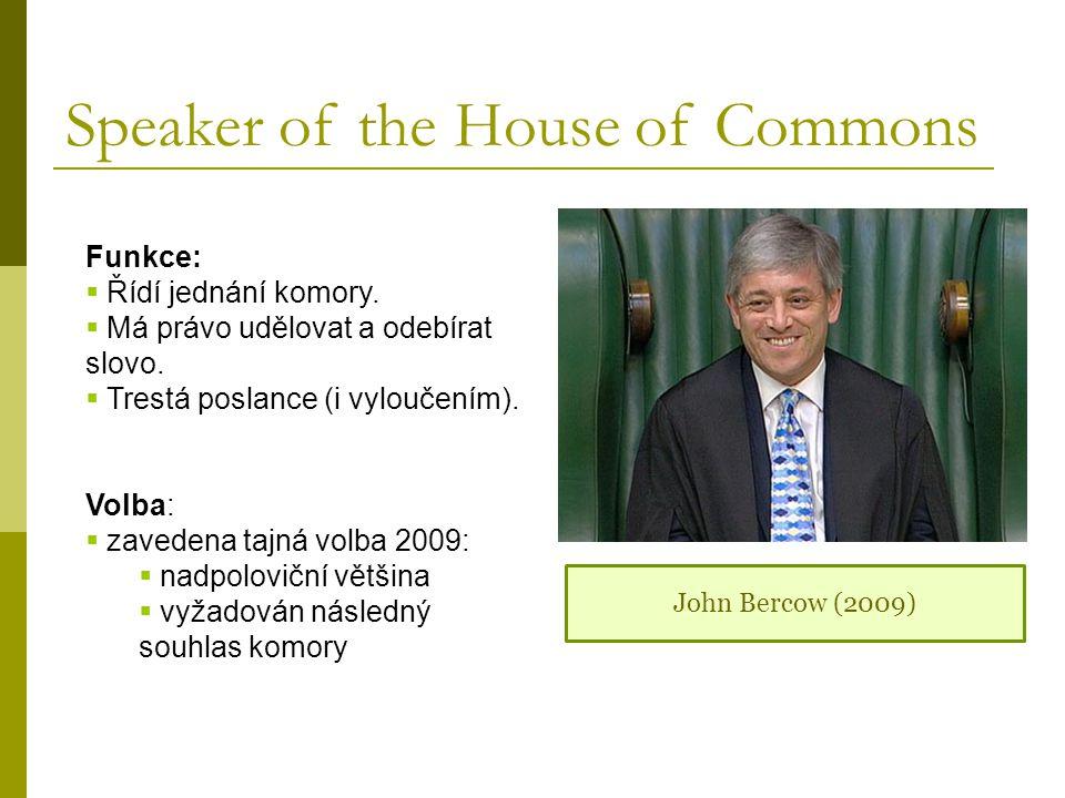 Speaker of the House of Commons Funkce:  Řídí jednání komory.  Má právo udělovat a odebírat slovo.  Trestá poslance (i vyloučením). Volba:  zavede