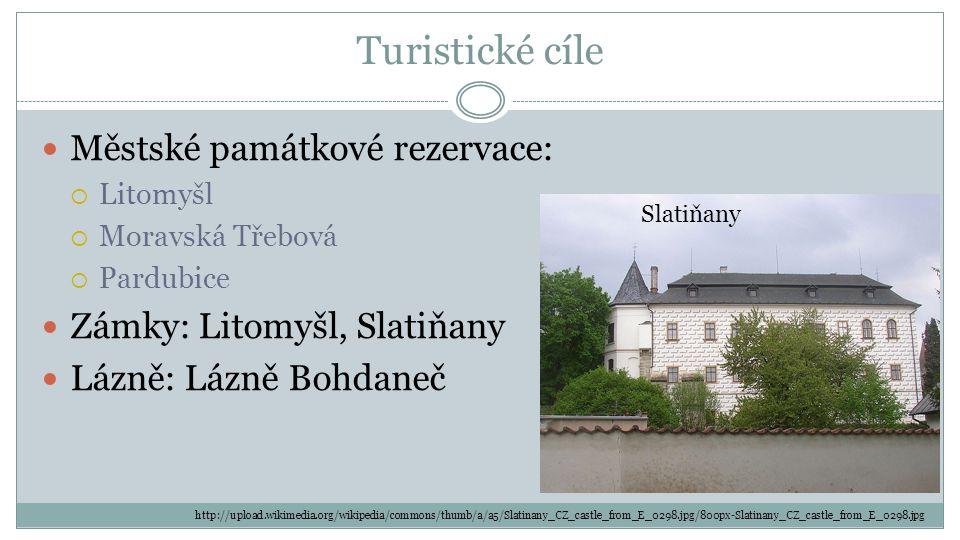 Turistické cíle Městské památkové rezervace:  Litomyšl  Moravská Třebová  Pardubice Zámky: Litomyšl, Slatiňany Lázně: Lázně Bohdaneč Slatiňany http://upload.wikimedia.org/wikipedia/commons/thumb/a/a5/Slatinany_CZ_castle_from_E_0298.jpg/800px-Slatinany_CZ_castle_from_E_0298.jpg