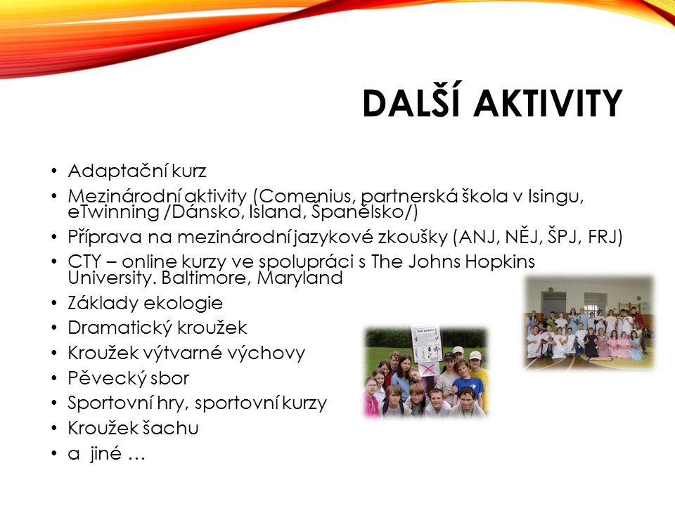 DALŠÍ AKTIVITY Adaptační kurz Mezinárodní aktivity (Comenius, partnerská škola v Isingu, eTwinning /Dánsko, Island, Španělsko/) Příprava na mezinárodn