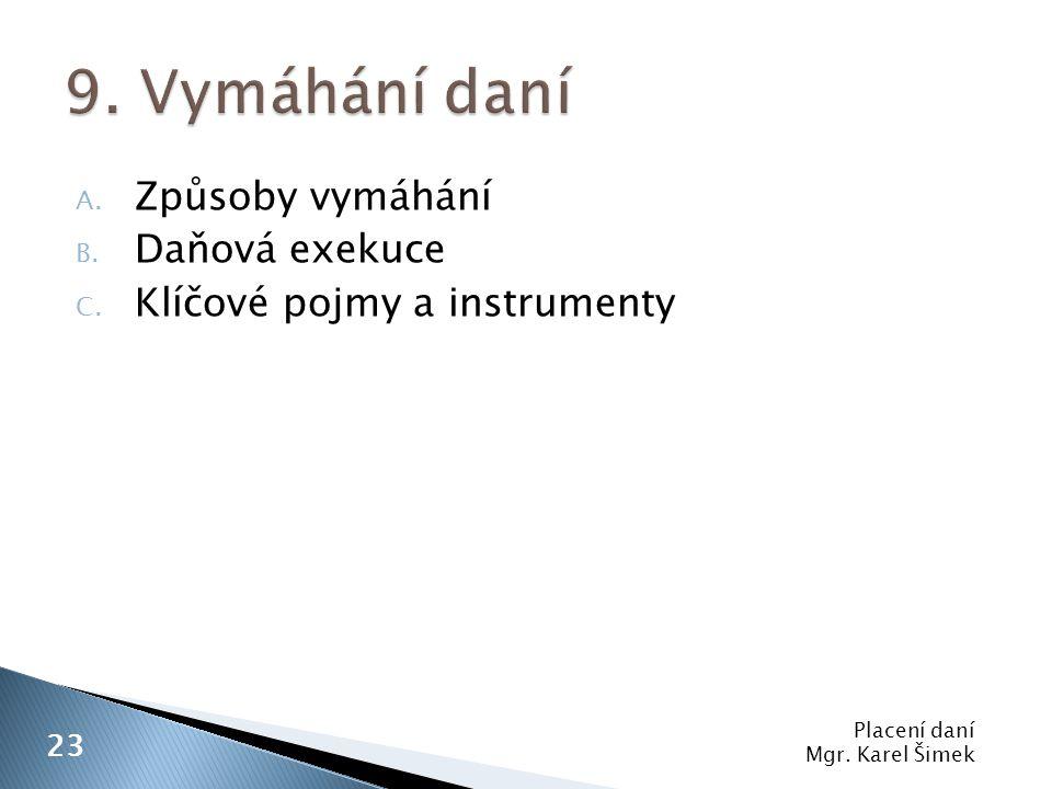A. Způsoby vymáhání B. Daňová exekuce C. Klíčové pojmy a instrumenty Placení daní Mgr. Karel Šimek 23
