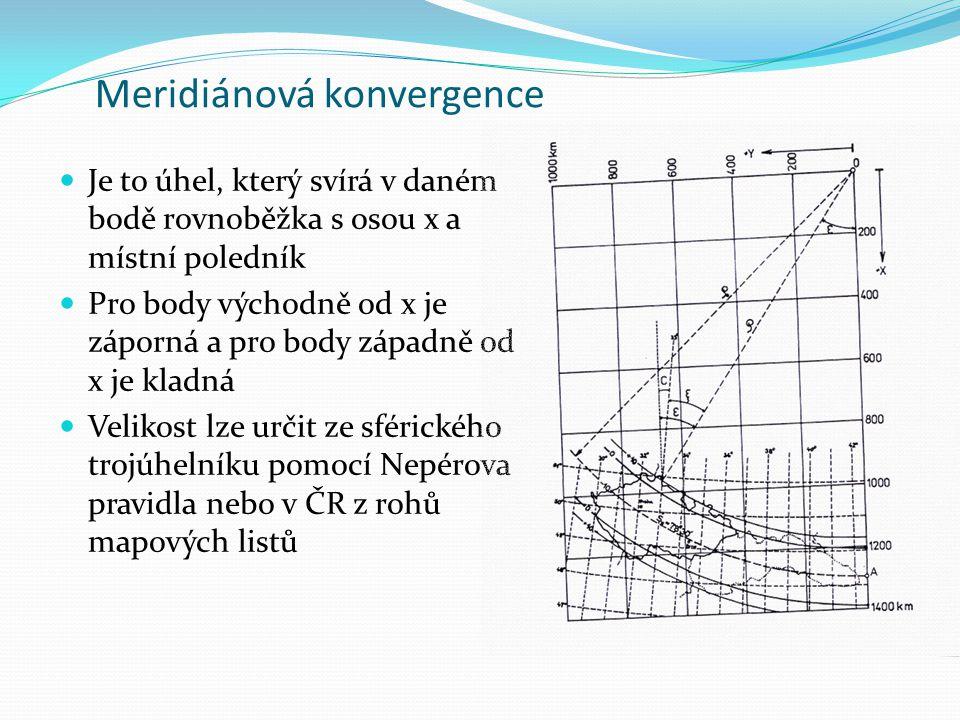 Meridiánová konvergence Je to úhel, který svírá v daném bodě rovnoběžka s osou x a místní poledník Pro body východně od x je záporná a pro body západn