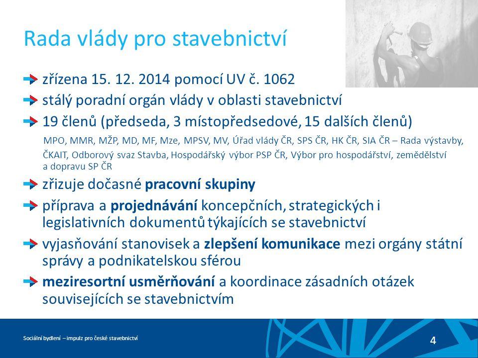 Sociální bydlení – impulz pro české stavebnictví 4 Rada vlády pro stavebnictví zřízena 15.