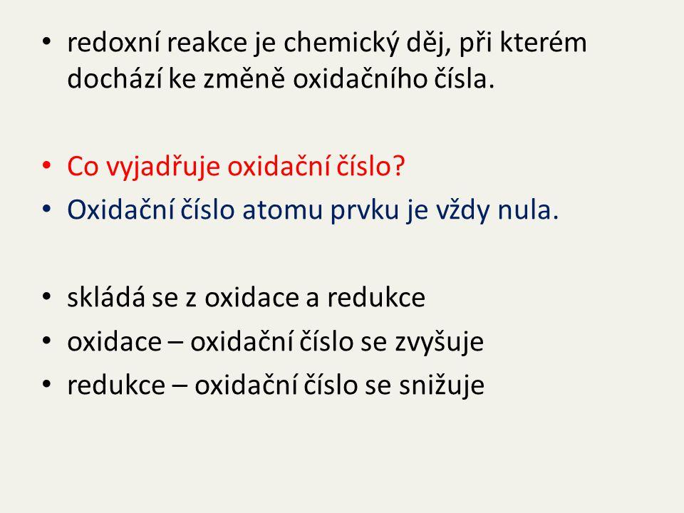 V chemických rovnicích doplň oxidační čísla a urči oxidaci a redukci. S + O 2 → SO 2 C + O 2 → CO 2