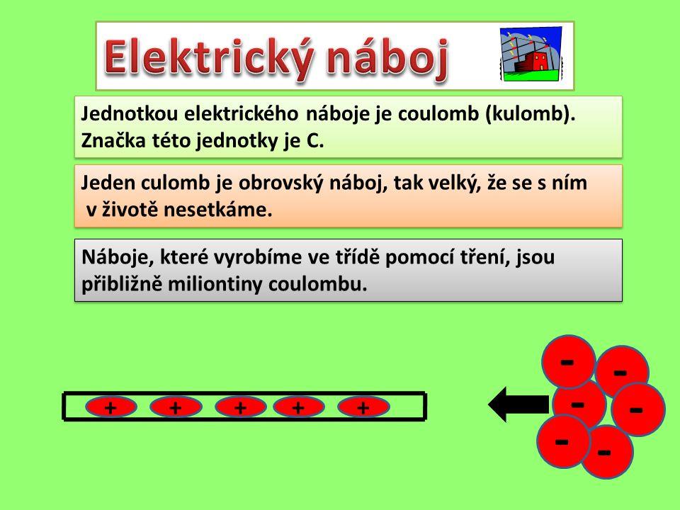 Jednotkou elektrického náboje je coulomb (kulomb). Značka této jednotky je C. Jednotkou elektrického náboje je coulomb (kulomb). Značka této jednotky