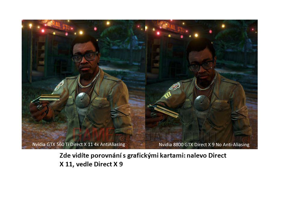 Zde vidíte porovnání s grafickými kartami: nalevo Direct X 11, vedle Direct X 9