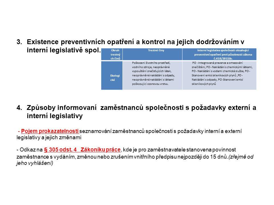 strana 8 3.Existence preventivních opatření a kontrol na jejich dodržováním v interní legislativě spol. 4.Způsoby informovaní zaměstnanců společnosti