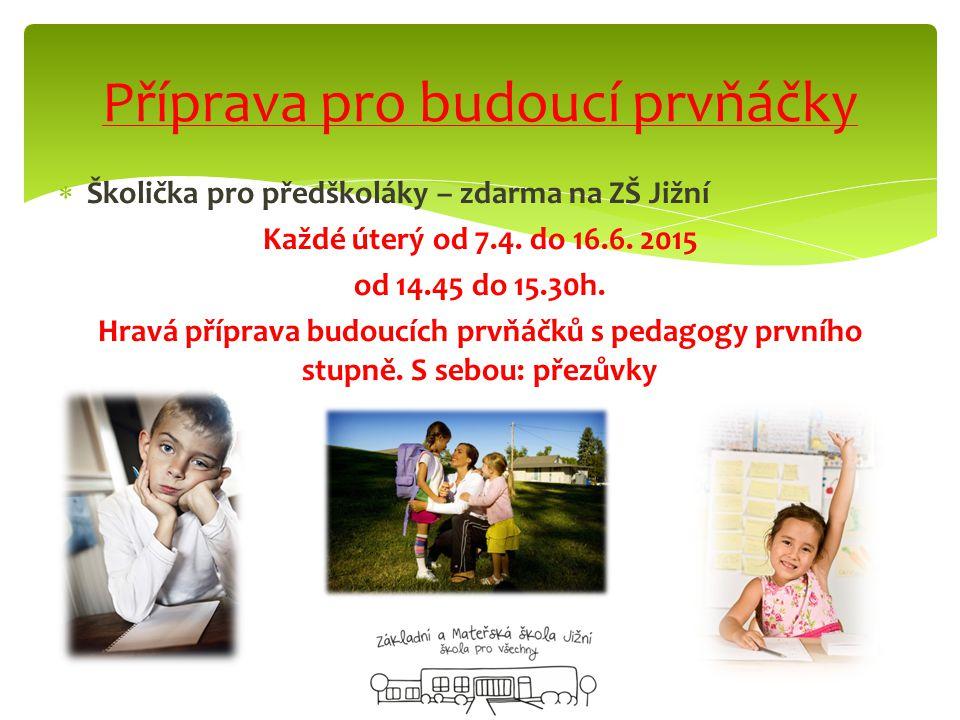  Školička pro předškoláky – zdarma na ZŠ Jižní Každé úterý od 7.4.