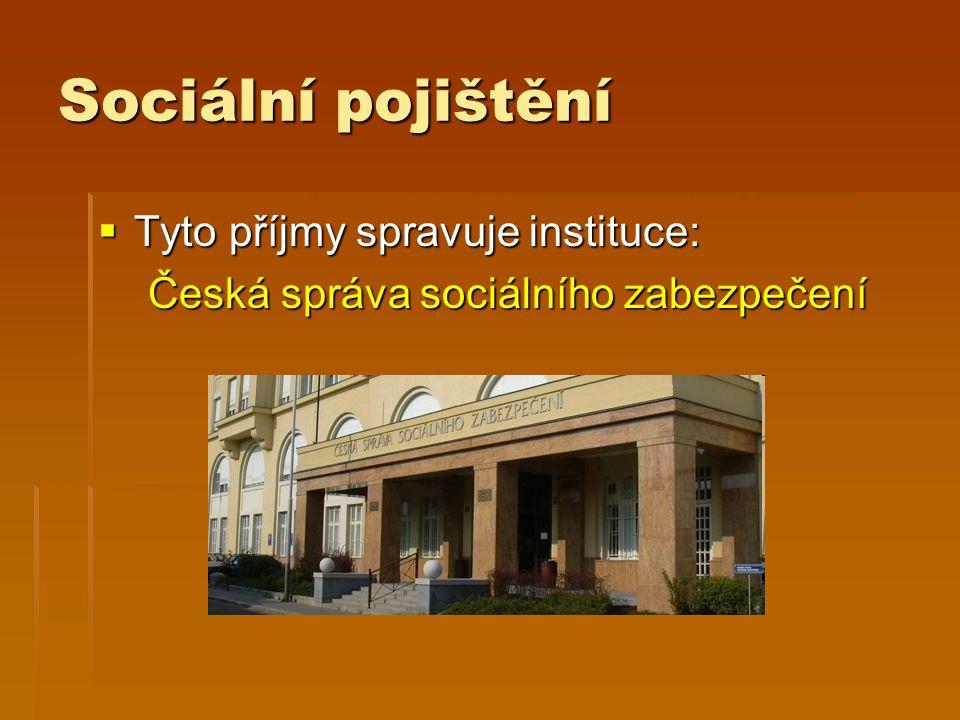 Sociální pojištění  Tyto příjmy spravuje instituce: Česká správa sociálního zabezpečení