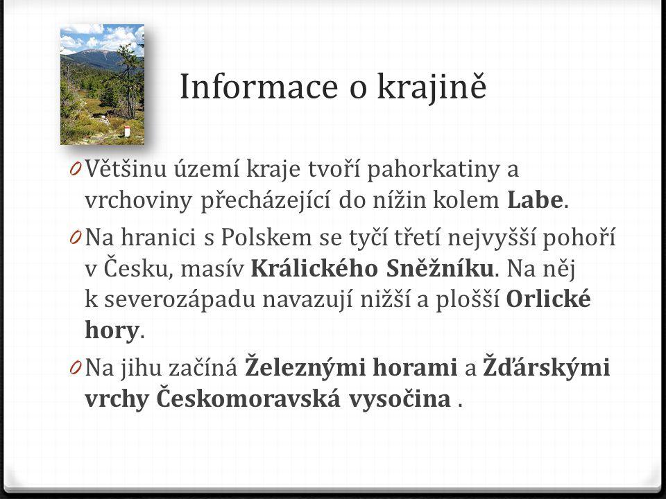 Informace o krajině 0 Většinu území kraje tvoří pahorkatiny a vrchoviny přecházející do nížin kolem Labe.