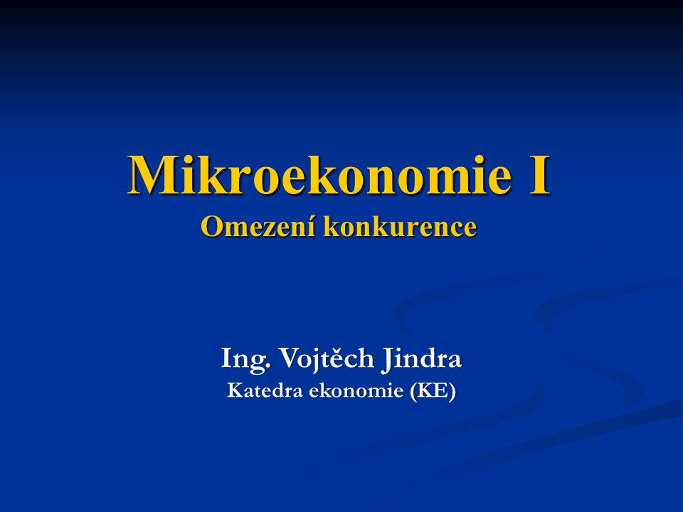 Mikroekonomie I Omezení konkurence Ing. Vojtěch JindraIng. Vojtěch Jindra Katedra ekonomie (KE)Katedra ekonomie (KE)