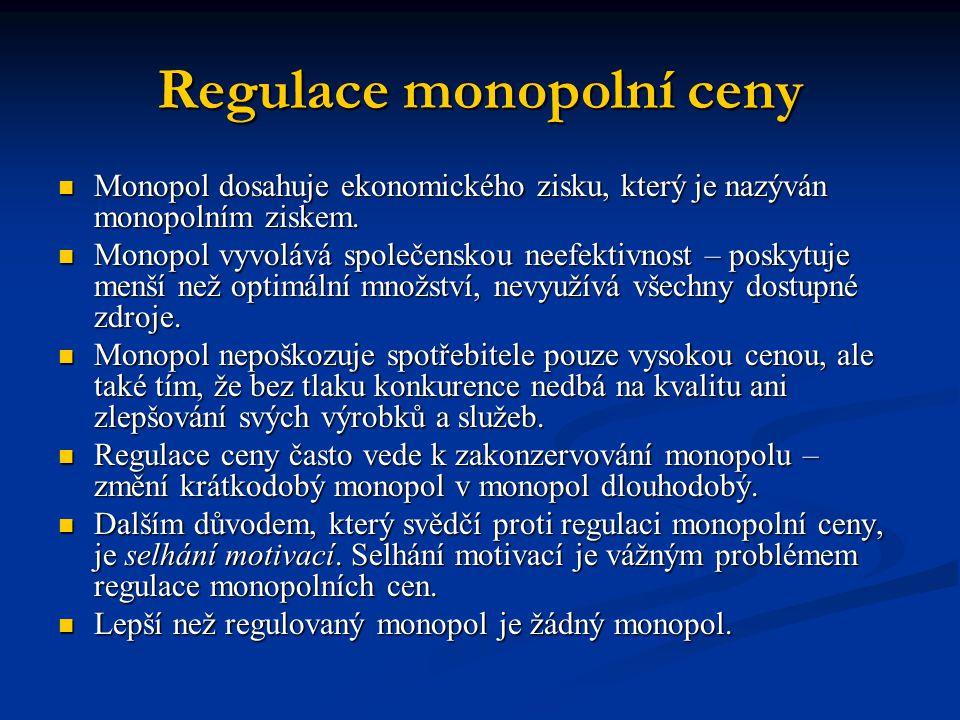 Regulace monopolní ceny Monopol dosahuje ekonomického zisku, který je nazýván monopolním ziskem. Monopol dosahuje ekonomického zisku, který je nazýván