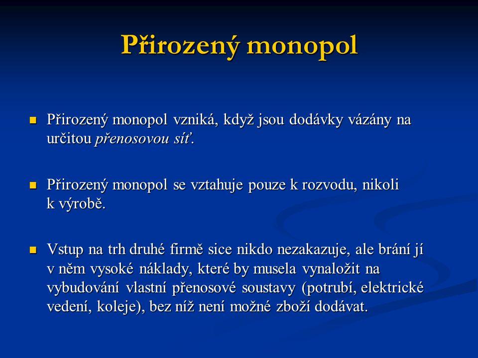 Přirozený monopol Přirozený monopol vzniká, když jsou dodávky vázány na určitou přenosovou síť. Přirozený monopol vzniká, když jsou dodávky vázány na