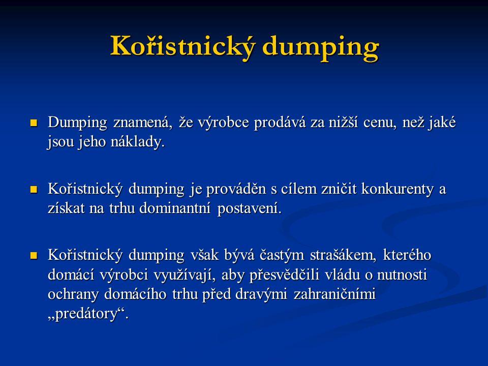 Kořistnický dumping Dumping znamená, že výrobce prodává za nižší cenu, než jaké jsou jeho náklady. Dumping znamená, že výrobce prodává za nižší cenu,
